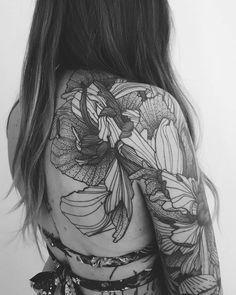 f9813baba Quarter sleeve flower tattoo. Sleeve Tattoos For Women, Quarter Sleeve  Tattoos, Lace Tattoo