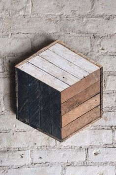 Reclaimed Wood Wall Art Decor Cube Lath 12 x by EleventyOneStudio