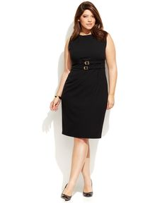 Calvin Klein Plus Size Double-Buckle Belted Sheath - Dresses - Plus Sizes - Macy's