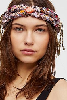 With a mixed fabric design, this double braided headband features a true bohemian feel with fringe and ceramic bead accents. Ethnic Hairstyles, Headband Hairstyles, Diy Hairstyles, Men's Hairstyle, Wedding Hairstyles, Turbans, Fringe Braid, Braid Bangs, Fascinator