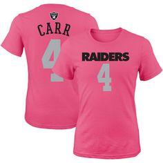 Girls Youth Oakland Raiders Derek Carr Pink Mainliner Player Name & Number T-Shirt