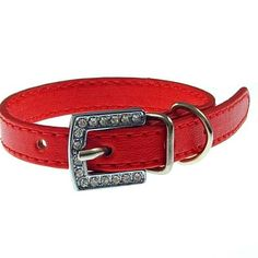 12 inch leather pet dog collar,rhinestone pet collae,small / red - $1.29 : OK Charms, cheap Wholesale charms jewelry, Charms china,