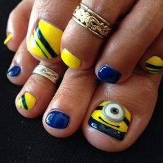 Décor your toe nails like never before, have a look at the collection of minion toe nail art designs, ideas, trends & stickers of Nail Art Designs, Pedicure Designs, Pedicure Nail Art, Toe Nail Art, Feet Nails, My Nails, Hair And Nails, Funky Nail Art, Funky Nails