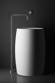 INOX single-hole, floor-mount basin spout.  This Italian-made stainless steel single-hole freestanding pedestal lav features a unique square spout design with recessed aerator.