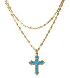 Catherine Popesco 14K Gold Plated Double Chain Cross Pendant Necklace with Turquoise Swarovski Crystals Catherine Popesco, http://www.amazon.com/dp/B007BF7ZTQ/ref=cm_sw_r_pi_dp_WXRjrb01A7ZVK