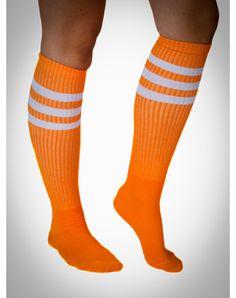 Neon Orange with White Stripe Knee High Socks $5.99