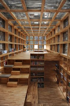 Li Xiaodong, Li Yuan Library, Jiaojiehe Village, Huirou, Beijing, China © Li Xiaodong Atelier. Wood Architecture Now! Vol. 2