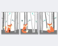 This set of three woodland nursery art set features a different fox in each art print. The foxes are sitting in the forest in amongst the birch trees and the little birds on the trees add a spalsh of color. You can customize the colors if you like and you can select from a range of different sizes. These art prints are printed on high quality heavyweight paper and are intended to be framed. This listing is for 3 art prints only - frame not included.  These prints are professionally printed…