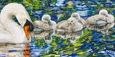 Rhian Symes - All's quiet - Artists & Illustrators - Original art for sale direct from the artist Kids Watercolor, Watercolor Mixing, Pastel Watercolor, Watercolor Animals, Paintings I Love, Original Art For Sale, Swans, Silk Painting, Bird Art