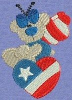 FREE! Patriotic Butterflybears Filled - 7 Designs! | FREE | Machine Embroidery Designs | SWAKembroidery.com Bunnycup Embroidery
