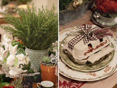 Páscoa - decoração de almoço country chic - arranjos de suculentas e caixinha de ovos decorada com lavandas ( Arranjos: Lucia Milan )