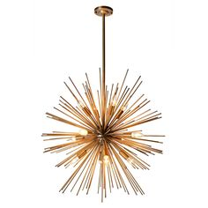 An exploding star for your living room!This fabulous twelve lamp starburst pendant will add drama (and plenty of light!) to the dullest of spaces. It's larger than you first expect at 75cm in diameter. The height of 122cm incorporates the stem into the ceiling. The chandelier plugs directly into the mains and all fittings are included. MetalComes with a 1.2 metre cord.
