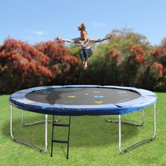 Our Oz Trampolines Round Trampoline' is the perfect mid-sized family trampoline without safety net. Designed with fun in mind, this brightly coloured, uniquely designed trampoline is perfect for hours of trampoline entertainment fun. 12ft Trampoline, Backyard Trampoline, Professional Trampoline, Keep Fit, Trampolines, Poker Table, How To Run Longer, Outdoor Furniture, Outdoor Decor