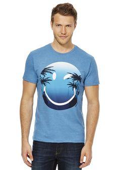 Clothing at Tesco   Smiley World Palm Print T-Shirt > tops > Tops, T-Shirts & Hoodies > Men