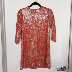 Parker Sequined Mini Dress (Coral and Nude) Adorable mini dress from brand Parker. Covered in sequins. 3/4 sleeves. Been worn only once and has been sitting in my closet since, she needs a new home :)! Parker Dresses Mini