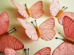 "Bubble Gum Pink/ Chocolate Vintage style classic Butterflies - ""Perfect for gift wrap, tags, decorating, altered art"""