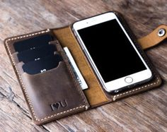 iPhone 6 Case DARK Colored Distressed Leather iPhone by JooJoobs