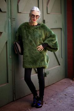 Love the Sasquatch-looking top on Linda Rodin, a 66 year old model and fashion designer.