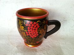 Vintage Tea Cup - Traditional Russian Wooden Vintage Tea Cup Made in USSR in 1970s