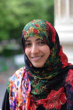 Tawakkol Karman: b. 1979 an Yemeni journalist, politician, and activist. She leads Women Journalists Without Chains, which she co-founded. She is a co-recipient of the 2011 Nobel Peace Prize, becoming the 1st Yemeni, the 1st Arab woman, and the 2nd Muslim woman to win a Nobel Prize and the youngest Nobel Peace Laureate to date.