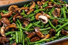 roasted green beans with mushrooms