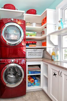 Elegant White Laundry Room Organization Ideas Featured With Inset Cabinetry And Completed With Red Machines