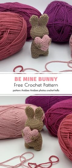 Be Mine Bunny Free Crochet Pattern.This bunny is perfect not only for Easter and Valentine's Day. With the pattern for such a sweet tiny amigurumi in your library, you can spread the love all year round. Your frie# Bunny Free Knitting, Knitting Patterns, Crochet Patterns, Amigurumi Patterns, Amigurumi Toys, Baby Patterns, Easy Knitting Projects, Crochet Projects, Crochet Toys