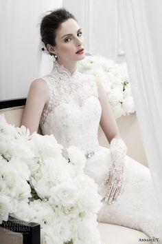 annasul y bridal 2015 sleeveless lace sheath wedding dress high neck mandarin collar ay2870b -- Annasul Y. 2015 Wedding Dresses