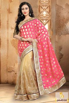 Latest Dark Pink Color Chiffon Party Wear Saree Online Shopping With