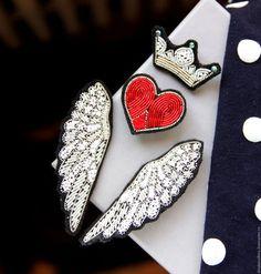 """Броши ручной работы. Ярмарка Мастеров - ручная работа. Купить Комплект брошей   """"Крылья  """" ручная вышивка .. Handmade."""