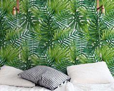 Fond d'écran amovible de feuilles de palmier, grandes laves murale, sticker mural verdure, fonds d'écran Tropical, exotiques feuilles adhésifs, 278