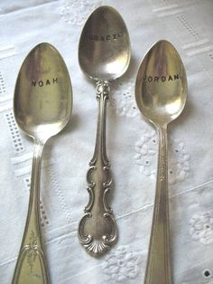 vintage hand-stamped spoons as place cards