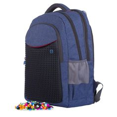 Pixie Crew Design Your Own Student Multi Section Blue Denim Backpack Rucksack - 200 Free Pixels