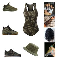 """beach time"" by aleisharodriguez ❤ liked on Polyvore featuring LE3NO, NIKE and Herschel Supply Co."