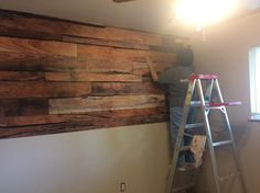 Ideal Decor 100 in. H x 144 in. W Reclaimed Wood Wall Mural at The Home Depot - Mobile Fold Up Table, Church Interior Design, Diy Pallet Wall, Remodeling Costs, Diy Home Repair, Plank Walls, Wall Bar, Boathouse, Pallet Projects