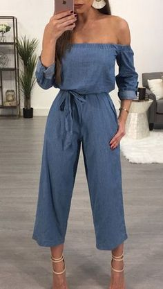 The jumpsuit is featuring slash neck, long sleeve, solid color and denim. The jumpsuit is sexy and fashion. The jumpsuit is suitable for shopping, vacation, daily wear and many occasions. Denim Fashion, Fashion Outfits, Womens Fashion, Latest Fashion, Fashion In, Long Sleeve Denim Jumpsuit, Pant Jumpsuit, Denim Romper, Black Jumpsuit