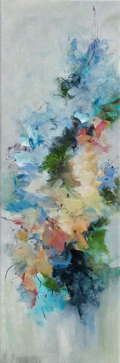 """""""Blossoms""""  8x24 An abstract floral painting."""