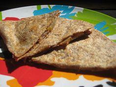 Quick & healthy breakfast for kids: Peanut Butter & Apple Quesadilla school-bites.com #KidsCookMonday