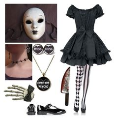 """Halloween costume idea #7 (Creepy Doll)"" by shadow-cheshire ❤ liked on Polyvore featuring Leg Avenue, Clips, women's clothing, women, female, woman, misses and juniors"