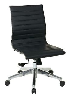 OSP Furniture Mid Back Black Eco Leather Chair without Arms - http://www.furniturendecor.com/osp-furniture-mid-back-black-eco-leather-chair-without-arms/