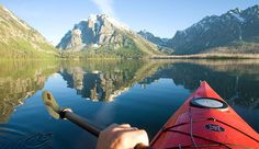 Yellowstone Park and Grand Teton Park offer many rivers and a large Yellowston Lake, perfect for canoeing and kayaking.