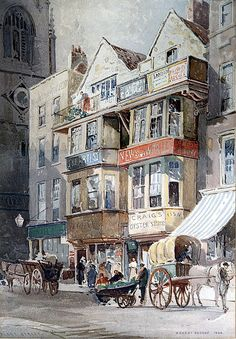 Fleet Street, London, 1886, watercolor by Sir Ernest George, 1839-1922, British architect, landscape and architectural watercolor artist.