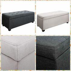 New Linen Fabric upholstered Storage Bench / Blanket Box Storage / Ottoman