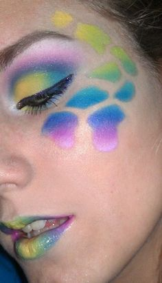 Rainbow Giraffe Look  Tutorial Here :)  http://makeupblossom.blogspot.com/2011/12/rainbow-giraffe-look-i-was-feeling.html