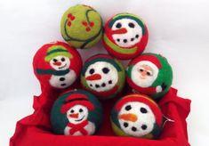 Items similar to Felted Christmas balls on Etsy Christmas Colors, Christmas And New Year, Hanukkah Decorations, Wool Needle Felting, Felt Christmas Ornaments, Balls, Christmas Gifts, Khalid, Handmade Gifts