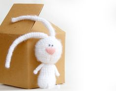 White rabbit crochet toy bunny natural eco toy for by RomeoShop, $24.00