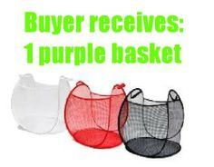 Ikea Purple Laundry Baskets Mesh Net Fabric Collapsible Pop up Hamper Skoghall by IKEA. $10.99. Mesh net fabric; Buyers will receive one dark purple laundry basket.. Fit 21 gallon (80 l).