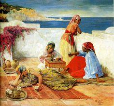 """Emile Deckers : """"Le café sur les terrasses"""" Alger / huile sur toile  : 82 x 91…"""