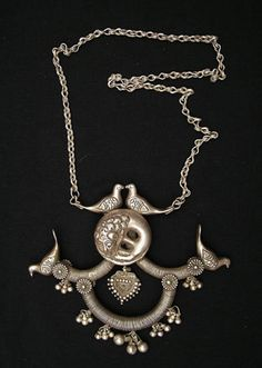 India ~ Rajasthan | Sterling silver ceremonial necklace from the opulent past of Rajasthan was once part of the collection of a high ranking...