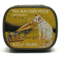 Vintage Tin  HMV His Master's Voice Copyright  by OnlyCoolStuff, $18.00